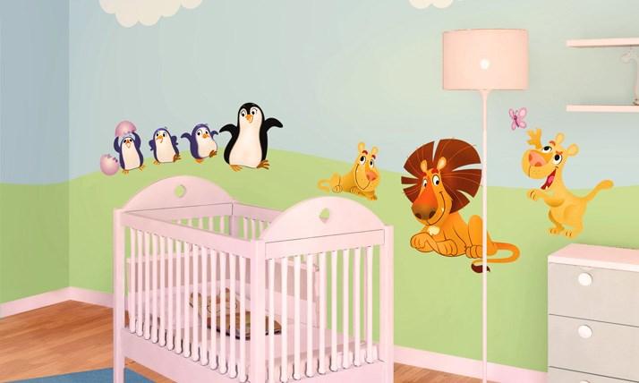 Stickers murali bambini cameretta cuccioli del mondo - Decorazioni murali per camerette bambini ...